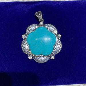 Silver-tone Faux Turquoise HUGE Pendant 💙✨